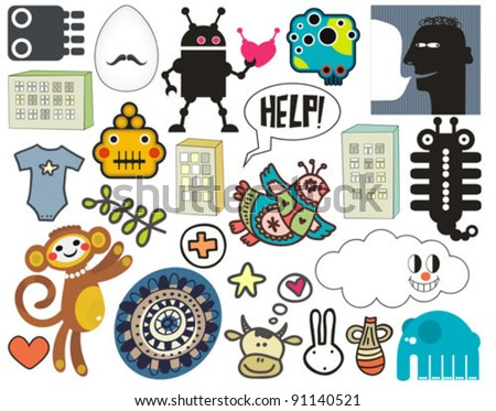 Mix of different vector images and icons. vol.37 - stock vector