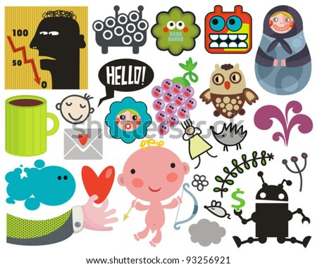 Mix of different vector images and icons. vol.38