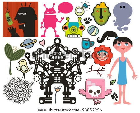 Mix of different vector images and icons. vol.40 - stock vector