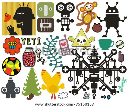 Mix of different vector images and icons. vol.42 - stock vector