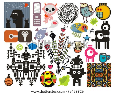 Mix of different vector images and icons. vol.43 - stock vector
