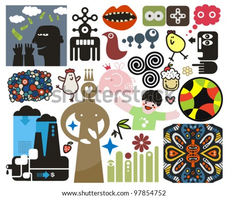 Mix of different vector images and icons. vol.46 - stock vector