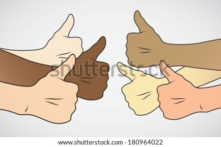 mix races Thumbs up eps10  - stock vector
