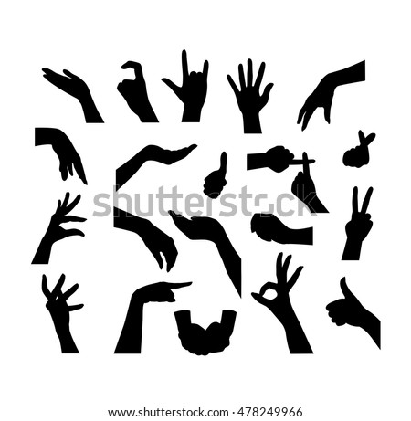 Mix set of Hand silhouettes