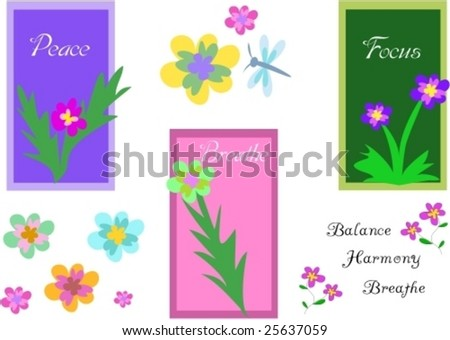 Mix Signs of Plants and Peace Vector - stock vector