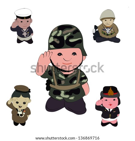 mix soldiers vector giving a honor - stock vector