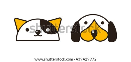 Mixed breed puppy american curl cat had on white background. Cat and dog heads domestic kitten white feline and cute puppy mammal. Cute funny cat and dog heads portrait friendship vector symbol. - stock vector
