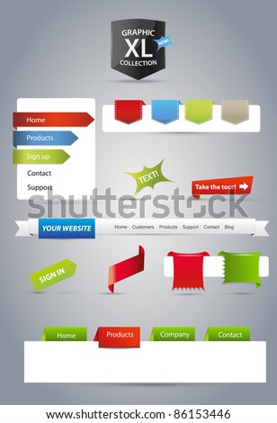 Mixed collection of web graphics - stock vector