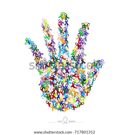 Mixed color ribbon in shape of one hand on solid white background, the symbol of cancer awareness.