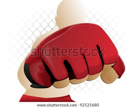 Mixed Martial Arts Fighter / MMA punch - stock vector