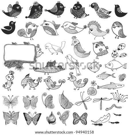 Mixed  set of birds fishes  insects. doodle vector - stock vector