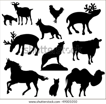 Mixed set of vectorized animals silhouettes - stock vector