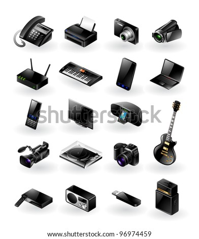 Mixed vector icon set - electronics in various categories - stock vector