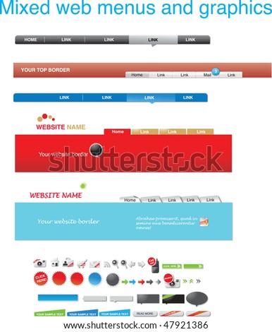 Mixed web menus and graphics - stock vector