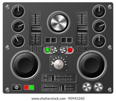 Mixing desk production sound or video desk console sliders, buttons, knobs and switches - stock vector