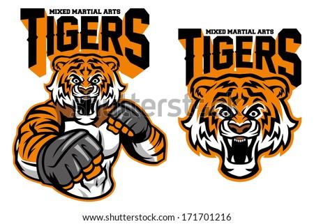 MMA fighter tiger - stock vector
