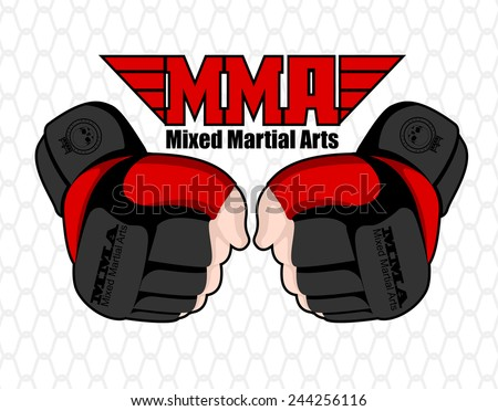 MMA hands poster. Mixed martial arts banner. Fighting emblem. MMA gloves logo element. Boxing decoration illustration. Vector MMA background - stock vector