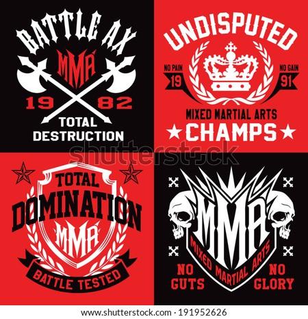 MMA mixed martial arts emblems - stock vector
