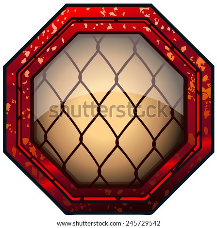 MMA Octagon Cage Sign, Vector Illustration.  - stock vector