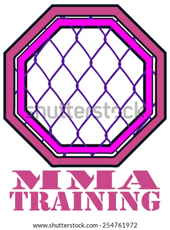 MMA Training Cage Octagon Sign, Vector Illustration isolated on White Background. - stock vector