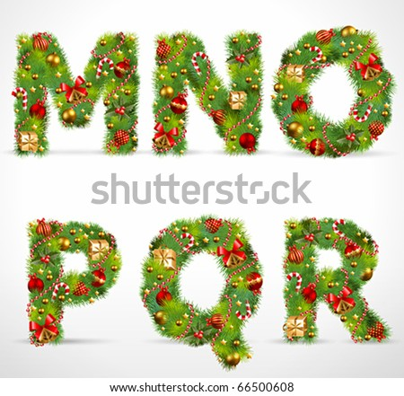 MNOPQR, vector christmas tree font - stock vector
