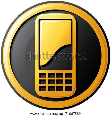mobil phone button - stock vector