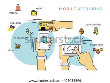 Mobile acquiring with signature via smartphone. Flat line contour illustration of payment via smartphone app - stock vector