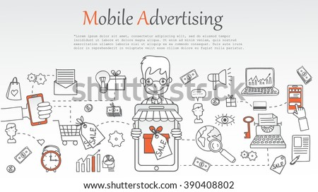 Doodle Line Design Web Banner Templates Stock Vector 485156455 ...