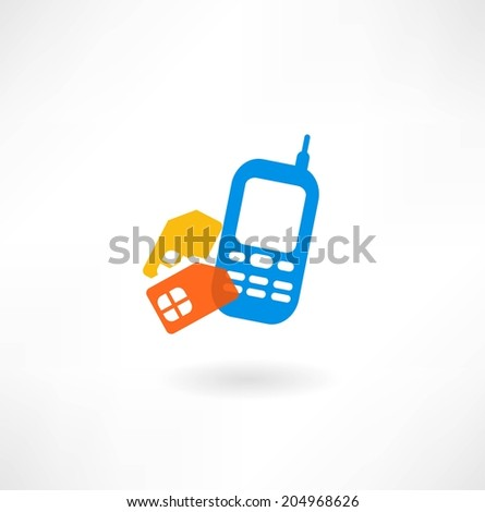 Mobile and sim card icon - stock vector