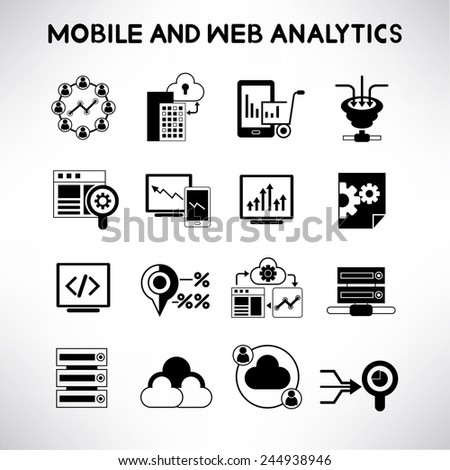 mobile and web analytics icons set, data analysis icons - stock vector