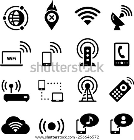 Mobile and wireless icon set. Vector icons for digital and print projects. - stock vector