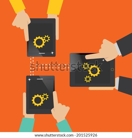 mobile app development concept,team work concept - stock vector