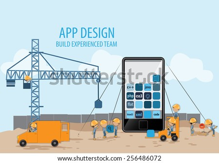 Mobile App Development, Experienced Team, For Web Site - Vector Illustration, Graphic Design, Editable For Your Design - stock vector