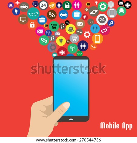 Mobile App,human hand smart phone illustration. - stock vector