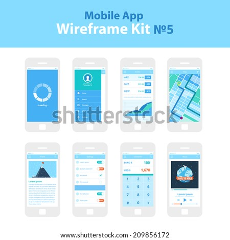Mobile App Wireframe Ui Kit ?5. Loading screen, sidebar screen, stocks screen, map screen, article screen, settings screen, converter screen, music player screen, mobile phone and devices screens. - stock vector