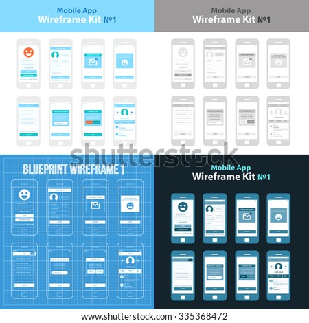 Mobile App Wireframe Ui Kit ?1. Splash screen, create account, check your e-mail, login screen, help screen, reset password screen, invalid e-mail screen, profile screen, main screen, sign up screen. - stock vector