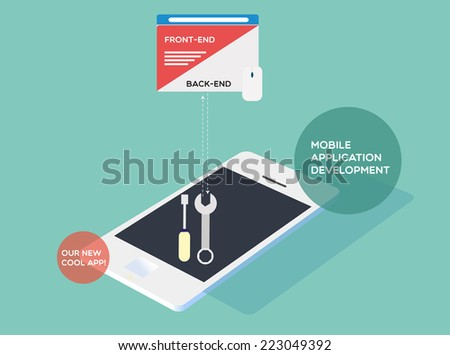 Mobile application development - stock vector