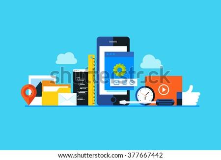Mobile application development, smartphone app programming. Flat design modern vector illustration concept. - stock vector