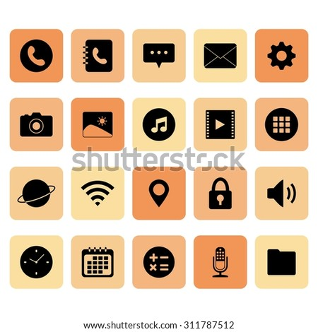 Mobile application icon. Application for smart phone icon. Function icon. Buttons. Vector. Illustration