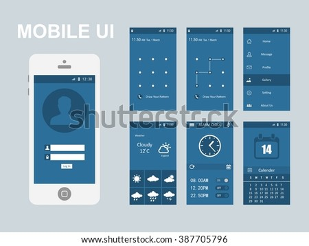 Mobile application interface concept. Vector Illustration, Android Flat Interface. Easy-edit vector EPS10 file. set of flat Application design. user profile. Blue app design interface - stock vector