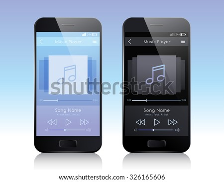 Mobile Application Interface : Music Player : Vector Illustration - stock vector