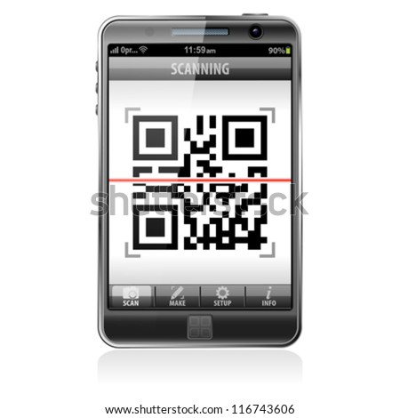 Mobile Application Scanning QR Code - e-commerce concept, isolated on white background, vector - stock vector