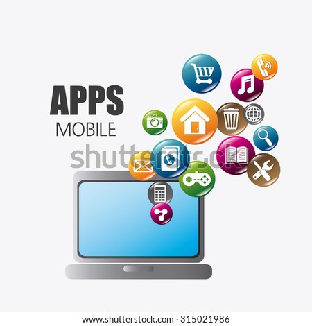 Mobile applications and multimeida technology design, vector illustration.