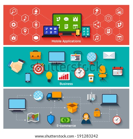 Mobile applications business and e-commerce concepts icons set vector illustration - stock vector