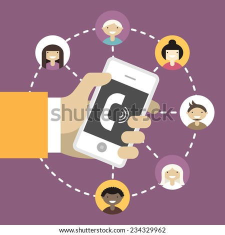Mobile applications concept.  Flat design vector illustration. Human hand with mobile phone and interface icons - stock vector