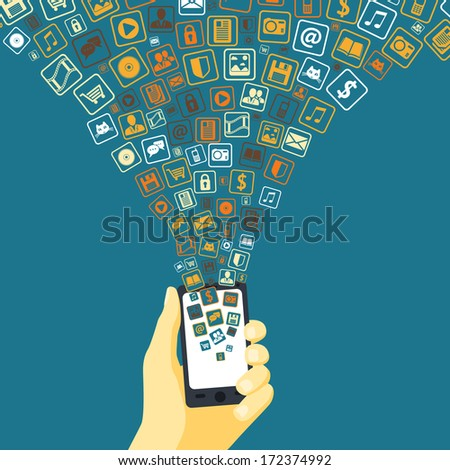 Mobile applications funnel linked to smart phone in hand concept vector illustration - stock vector