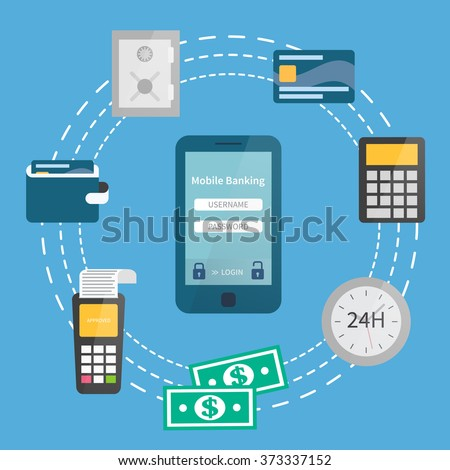 Mobile banking concept. Online safe payments via mobile banking. Mobile banking set. Flat illustration - stock vector