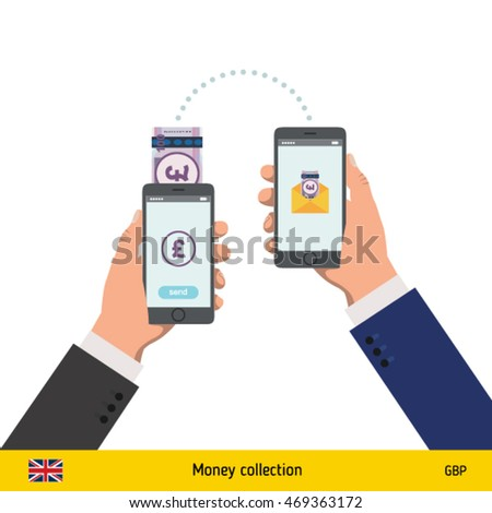 Mobile banking concept. Pound banknote. Transferring Money vector illustration
