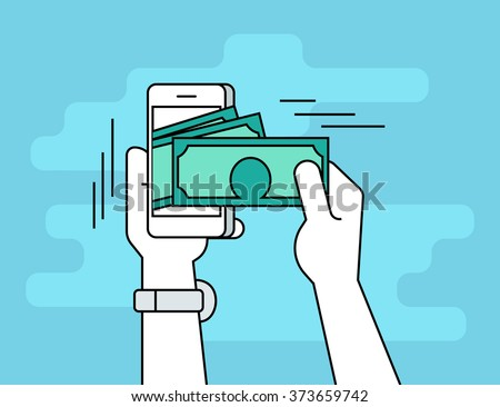 Mobile banking. Flat line contour illustration of human hand  withdraws cash from his smartphone - stock vector
