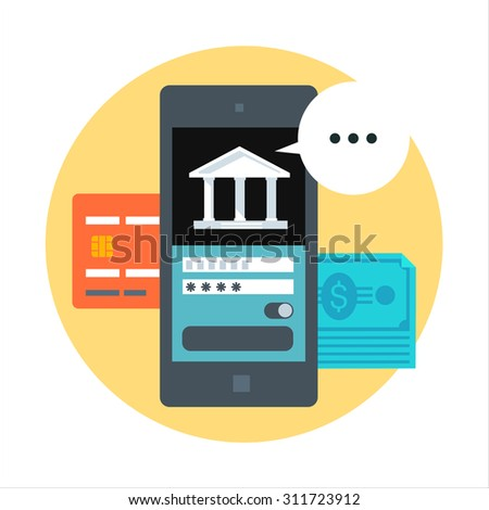 Mobile banking flat style, colorful, vector icon for info graphics, websites, mobile and print media. - stock vector
